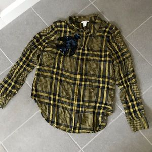 H&M embellished plaid checked shirt yellow navy m